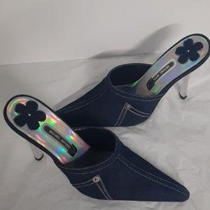 Michael Antonio blue denim heels